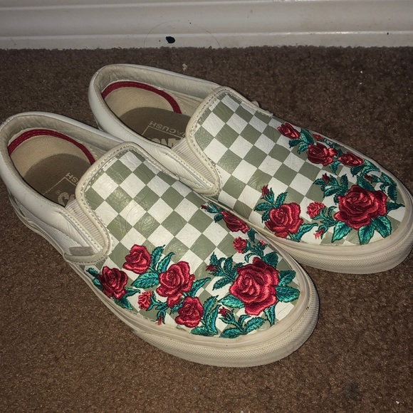 Vans Shoes | Grey Checkered Rose Vans
